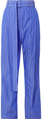 Ellery The Groove Pleated Pinstriped Cotton-poplin Pants - Blue