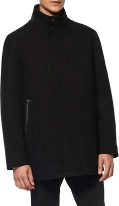 Andrew Marc Barton Inset Bib Wool Blend Jacket