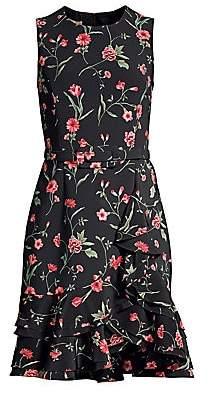 Michael Kors Women's Sleeveless Floral Ruffled Sheath Dress