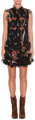 Etro Sleeveless Mixed-Print Silk Mini Dress