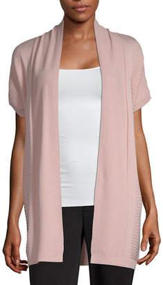 Liz Claiborne STUDIO Studio Womens Short Sleeve Open Front Cardigan