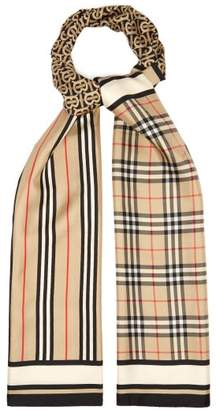 Burberry Check, Monogram And Icon Striped Silk Faille Scarf - Womens - Brown