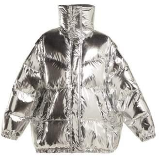 Mm6 Maison Margiela - Detachable Sleeve Puffer Jacket - Womens - Silver