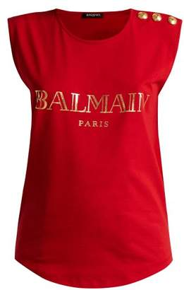 Balmain Logo Print Cotton Jersey Tank Top - Womens - Red
