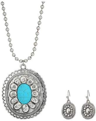 M&F Western Large Oval Concho w/ Turquoise Stone Necklace/Earrings Set Jewelry Sets