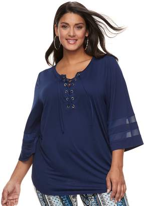 Laundry by Shelli Segal Plus Size French Lace-Up Mesh Top