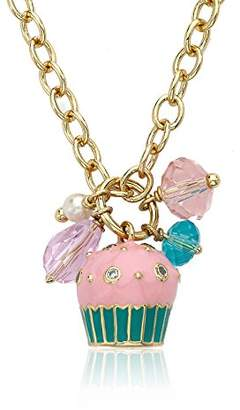 "Little Miss Twin Stars ""Candyland"" 14k Gold-Plated Pink Cupcake Cluster on Heavy Chain Necklace"