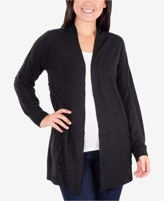 NY Collection Lace-Up Open-Front Cardigan