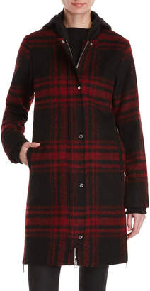 Vince Camuto Red Plaid Hooded Long Coat