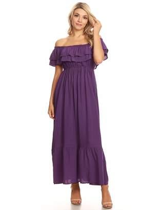 Anna-Kaci Womens Boho Peasant Ruffle Stretchy Short Sleeve Maxi Long Dress