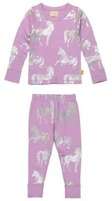 Masala Baby Silver Unicorn Organic Cotton Fitted Two-Piece Pajamas