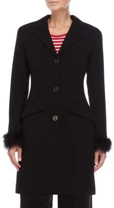 Sonia Rykiel Black Feather Trim Cuff Coat