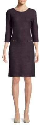 St. John Metallic Quarter-Sleeve Sheath Dress