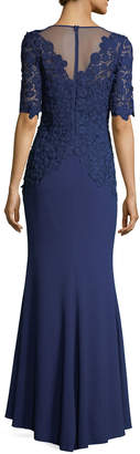 Rickie Freeman For Teri Jon Elbow-Sleeve Lace Mermaid Evening Gown