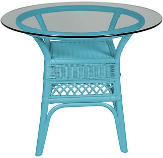 One Kings Lane Plantation Glass-Top Side Table - Blue