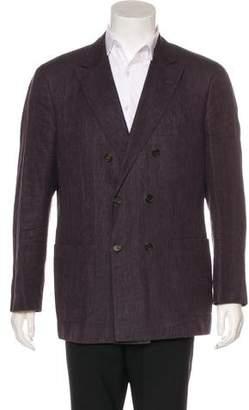 Brunello Cucinelli Double-Breasted Linen & Wool Blazer