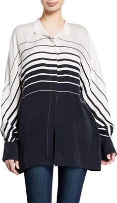 Equipment Sedaine Striped Colorblock Long-Sleeve Shirt
