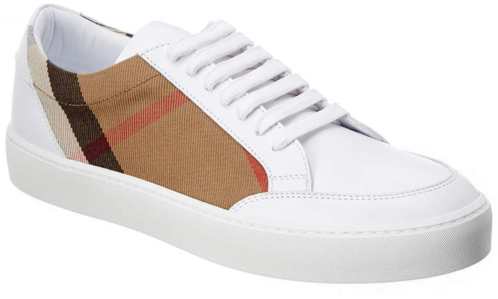 Burberry Salmond Check Detail Leather Trainer
