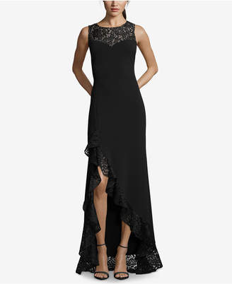 Betsy & Adam Lace Ruffle High-Low Gown