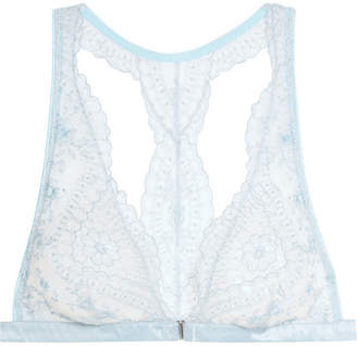 Célestine Embroidered Tulle And Satin Soft-cup Triangle Bra - Sky blue