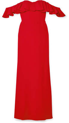 Alexander McQueen Ruffled Off-the-shoulder Crepe Gown - Red