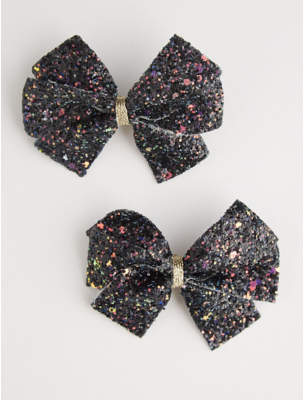 George Black Glittering Bow Hair Clips 2 Pack