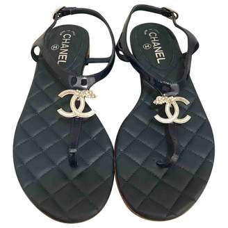 Chanel Blue Leather Sandals
