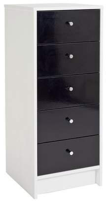 HOME Malibu 5 Drawer Narrow Chest - Black Gloss & White