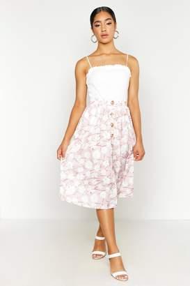 boohoo Button Through Daisy Woven Midi Skirt