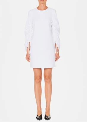 Tibi Structured Crepe Sculpted Sleeve Shift Dress