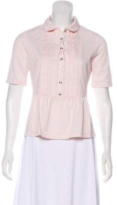 Burberry Short Sleeve Collare Top