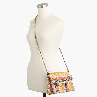 J.Crew Convertible raffia envelope clutch in rainbow stripes