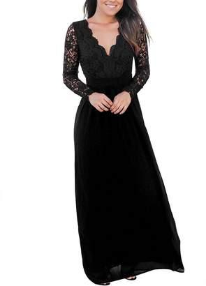 4bfa52727cfb Merry Mou Store Women s Lace Open Back Long Sleeve Wedding Deep V Neck Maxi  Party Evening