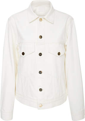 Gold Sign Patch Pocket Pearl White Denim Jacket