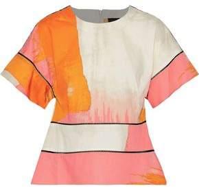 Donna Karan Lattice-trimmed Printed Cotton Top