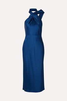 Jason Wu Collection - Asymmetric Satin-crepe Halterneck Midi Dress - Cobalt blue