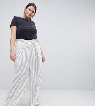 Asos CURVE Pinstriped Wide Leg Trousers