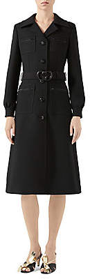 Gucci Women's GG Belt Wool Coat