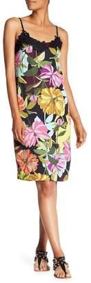 Trina Turk Delicate Floral Print Crochet Knit Trim Dress