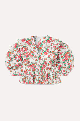 Rhode Resort Elodie Cropped Ruffled Floral-print Cotton-voile Blouse