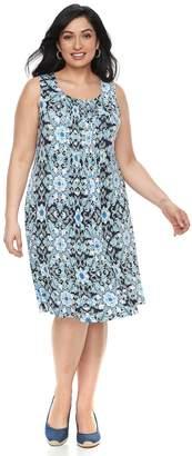 Croft & Barrow Plus Size Pintuck Sleeveless Dress
