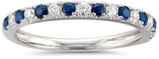 MODERN BRIDE Womens 1/2 CT. T.W. White Diamond & Genuine Blue Sapphire 14K White Gold Wedding Band