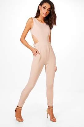boohoo Lottie Side Cut Out Skinny Leg Jumpsuit