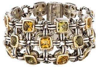 David Yurman Citrine & Peridot Three-Row Renaissance Bracelet