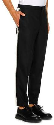 Neil Barrett Men's Tuxedo Satin Fringe Stripe Pants