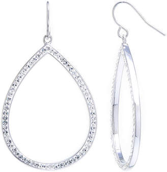 clear SPARKLE ALLURE Sparkle Allure Large Open Teardrop Crystal Silver Plated Drop Earrings