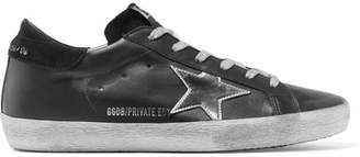 Golden Goose Superstar Distressed Leather And Suede Sneakers - Black