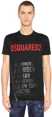 DSQUARED2 Logo Print Cotton Jersey T-Shirt W/ Zip