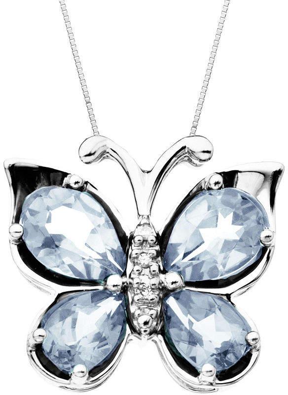 FINE JEWELRY Aquamarine & Diamond-Accent Butterfly Pendant Necklace