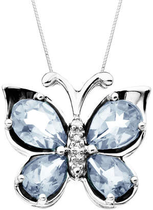 JCPenney FINE JEWELRY Aquamarine & Diamond-Accent Butterfly Pendant Necklace